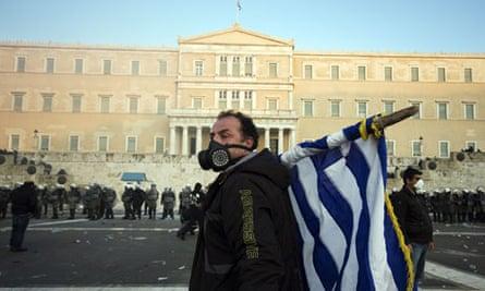 Demonstrator just outside Greek parliament