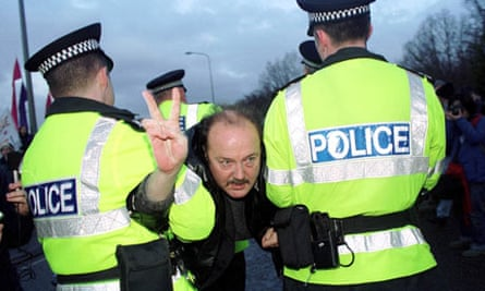 George Galloway being arrested at an anti-nuclear weapons protest, Faslane, 2001