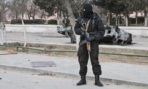 A riot officer in Kazakhstan