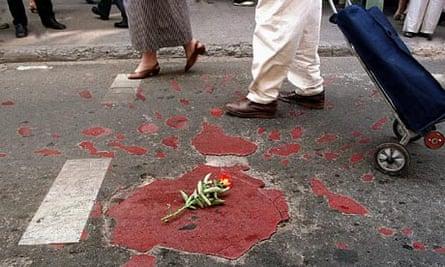 A 'Sarajevo rose' marking spot where a shell landed