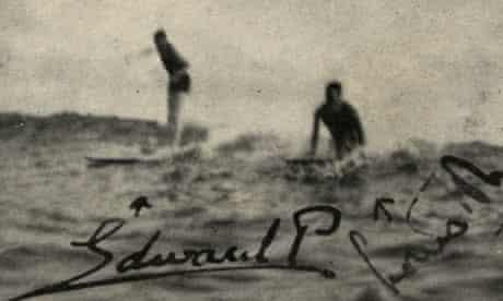 King Edward VIII surfs in Hawaii