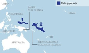 Permitted areas for tuna fishing in the Pacific Ocean