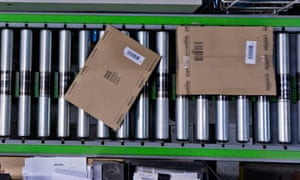 Amazon's distribution warehouse near Milton Keynes.