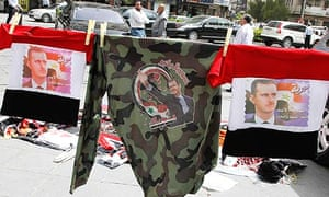 Merchandise with images of Bashar al-Assad, during a Damascus rally supporting the president.