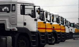 petrol tankers standing idle at a depot