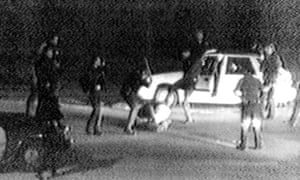 The police beating of Rodney King, captured on video tape
