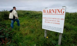 Sandside beach sign warning of radioactive particles.