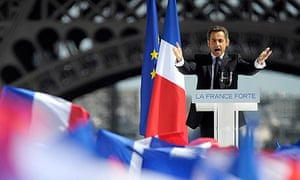 Nicolas Sarkozy speaks at a rally in front of the Eiffel tower at Trocadero Square, in Paris.