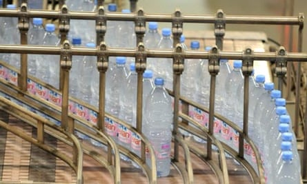 Bottles of Evian at French assembly plant