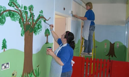 Brother Industries employees paint a nursery