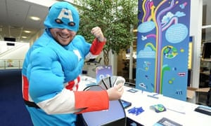 Staff dressed as superhero at the Glasgow Telefonica office