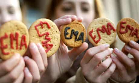 Students from Hammersmith hand out 'Save EMA' biscuits outside parliament