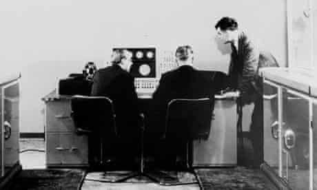 Alan M Turing and colleagues working on the Ferranti Mark I Computer, 1951