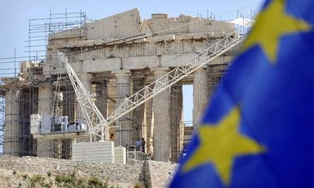 Parthenon and EU flag