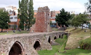The Medieval bridge over the River Exe at Exeter, Devon, where the Olympic torch arrived on Sunday.