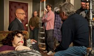 Ben Kingsley, helena Bonham-Carter and Roman Polanski on the set of A Therapy
