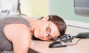 Burnout stress - woman sleeping on computer
