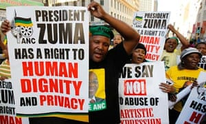 Supporters of the ruling ANC party demonstrate against the showing of a painting, in Johannesburg