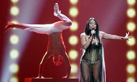 Anggun of France performs at the Eurovision song contest in Baku, Azerbaijan.