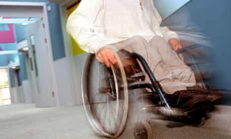 Disabled man in wheelchair at a care home