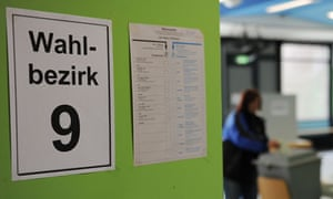 A polling station in Harrislee, for the Schleswig-Holstein state election.
