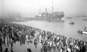 Ships arriving at Chandpal ghat (quay), Kolkata  - British Raj photographs