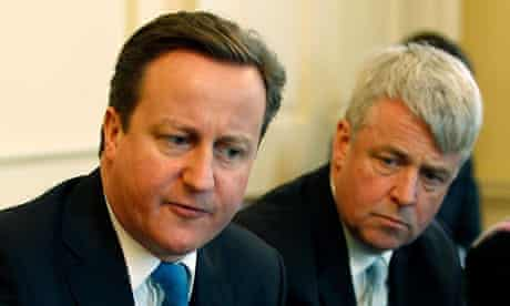 David Cameron Andrew Lansley during a round table discussion at Downing Street in London