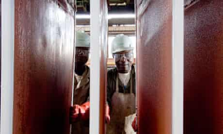 Workers at Copper plant in Congo