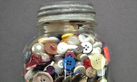 Collection of buttons in a jar
