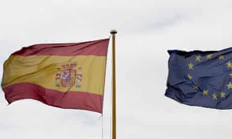 Spain eurozone flags