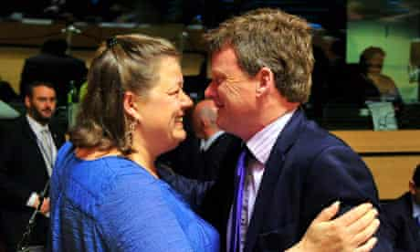 Current EU president Mette Gjerskov with the UK fisheries minister Richard Benyon