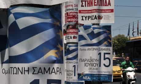 Athens election posters New Democracy Syriza