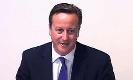 Prime Minister David Cameron at the Leveson inquiry