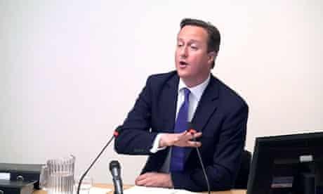 David Cameron at Leveson inquirty