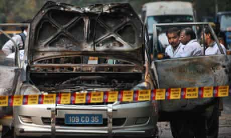 The car in which the wife of an Israeli diplomat was injured in a bomb explosion in Delhi