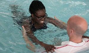 Bim Adewunmi has a swimming lesson