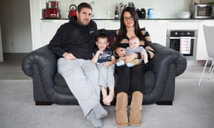 Nicola Probert and Tony Hodge at home in Bristol with their son Finley and baby Bobby.