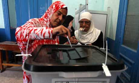 Egyptian women cast their votes in the presidential runoff at a polling station in Cairo.