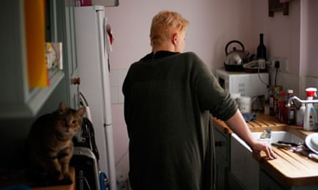 Civil servant 'Laura' at home. Her salary appears healthy but does not last for the month