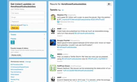 Twitter storm against fossil fuel subsidies