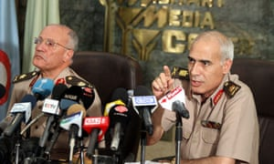 Members of Egypt's Supreme Council of the Armed Forces at a press conference in Cairo.