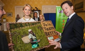 Nick Clegg attends an Oxfam/Co-operative event in support of small-scale farmers and fair trade.