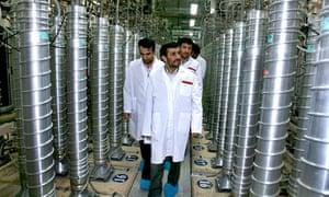 Iranian president Mahmoud Ahmadinejad visits the Natanz uranium enrichment facility