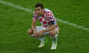 Croatian midfielder Darijo Srna reacts d