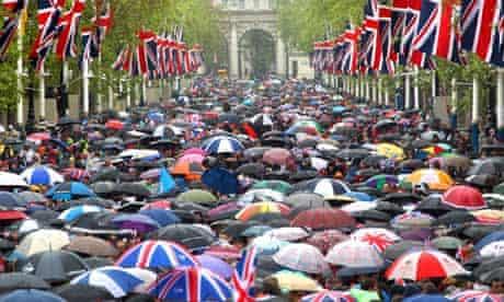 Crowd using umbrellas at Queen's diamond jubilee, 5 June 2012