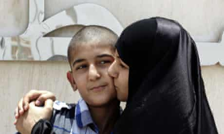 Ali Hasan with his mother