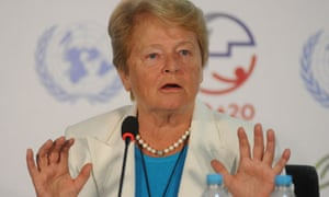 Former prime minister of Norway Gro Harlem Brundtland during a press conference at the Rio+20 summit