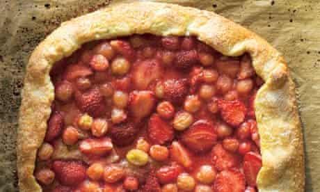 Hugh Fearnley Whittingstall's gooseberry and strawberry rough-edged tart