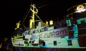 Projections on the side of the Stubnitz.