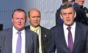 Damian McBride (far left) with Gordon Brown in 2008.